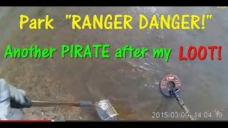 Metal Detecting a Beach.  Park Ranger approaches me....... See what happens............