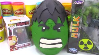 Giant Hulk Playdoh Surprise Egg with Marvel Transformers and TMNT toys!