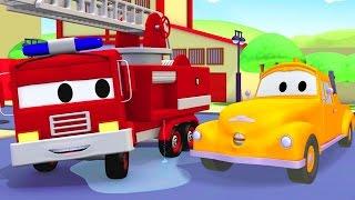 Tom der Abschleppwagen und Franck das Feuerwehrauto in Autopolis | Lastwagen Bau-Cartoon-Serie