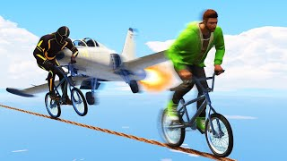 DEADLY MILE HIGH TIGHTROPE RUNNERS vs. PLANES! (GTA 5 Funny Moments)