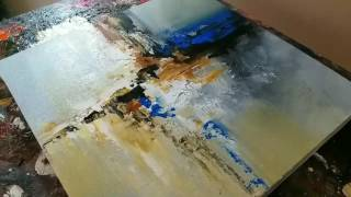 """Abstract painting / """"Rain in the City"""" / Acrylics / Palette knife / Demonstration"""