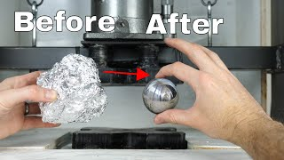 Mirror-Polished Japanese Foil Ball Challenge Crushed in a Hydraulic Press-What