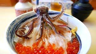 Japanese Street Food - DANCING SQUID SASHIMI Hakodate Japan Seafood