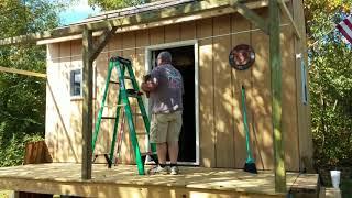 12 X 16 Off Grid Cabin pt 19 - Porch Roof Changes & Fun