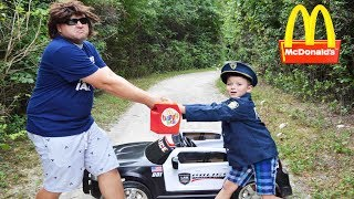 Sketchy Mechanic snatches McDonalds drive thru Happy Meal! Silly Funny Kids video!