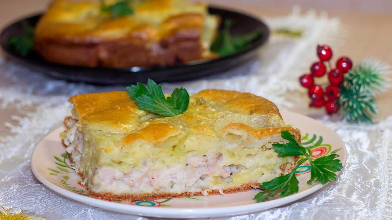 Заливной пирог с курицей и картошкой в духовке рецепт пошагово