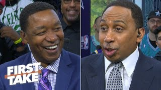Isiah Thomas laughs at Stephen A. for getting called out by Magic Johnson | First Take