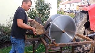 EXTREME Automatic Firewood Processing Machine, Homemade Modern Wood Cutting Chainsaw Machines