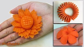 3 Amazing Carrot Garnishes for Food Designs & Decorations   Champey, Sunflower & Spiral Carving