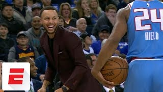 Stephen Curry trolls Buddy Hield after out-of-bounds call | ESPN
