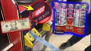 $20 Arcade Ticket Vending Machine Challenge!   JOYSTICK