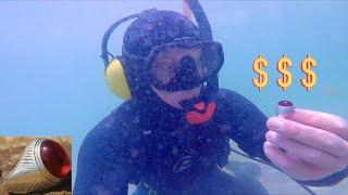 CRAZY!! Party Beach Underwater Metal Detecting HUGE Treasure & Cash Finds