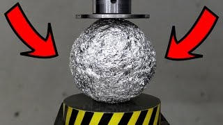 EXPERIMENT HYDRAULIC PRESS 100 TON vs ALUMINUM FOIL BALL