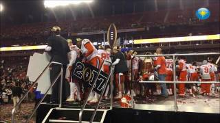 The Clemson University football team and its fans celebrate the National Championship on Tuesday mor