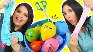 SLIME BALLOON CHALLENGE! Making Slime With Balloons FT MARIALE !