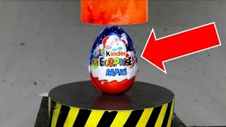 EXPERIMENT Glowing 1000 degree HYDRAULIC PRESS 100 TON vs BIG SURPRISE KINDER EGG