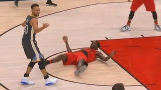 Stephen Curry Gets Knocked Down & Refs Don