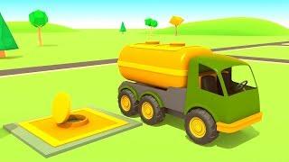 Zeichentrickfilm Helfer Autos. Die Spielzeugautos an der Tankstelle.