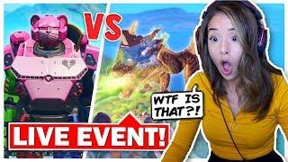 Pokimane Reacts to LIVE EVENT Monster VS Robot! Fortnite Season 9!