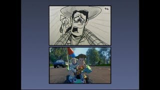 Toy Story (1995) - Storyboard/Final Split-screen comparison: The Chase (2005 DVD ver.) (60fps)