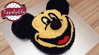 Mickey Mouse cake with whipped cream no fondant  How to make - EN subtitle