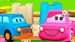 Schlaue Autos: wir spielen im Sandkasten. Zeichentrickfilm auf Deutsch.