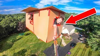 WORLDS TALLEST 10 STORY BOX FORT CHALLENGE!! Watermelon Drop Test & More!