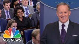 April Ryan, Sean Spicer Seem To Move Past Heated 'Road Kill' Exchange | NBC News