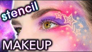 Galaxy Makeup using Nail Vinyl Stencils!