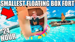 WORLDS SMALLEST BOX FORT ON WATER! 24 HOUR CHALLENGE