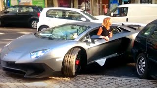 Girl Driving Skills | Lamborghini Aventador vs Truck TIR !!!