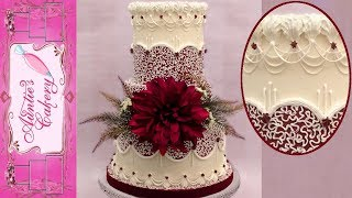 Maroon Cornelli Lace Wedding Cake; Featuring Natizo Piping Tips