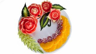 WATERMELON CARVING FLOWERS Model 7   Fruit center   Fruit & Vegetable Carving