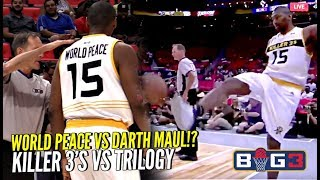 Ron Artest KICKS Ball Into The Crowd & Gets Ejected! PISSED at Ref! 😂 Killer 3