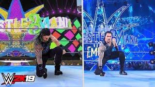 WWE 2K19 vs Real Life Roman Reigns Wrestlemania 34 Entrance (Concept)