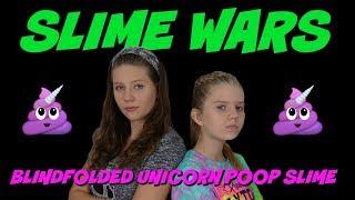 SLIME WARS BLINDFOLDED UNICORN POOP|| Taylor and Vanessa