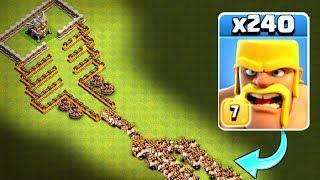 240 BARBARIANS vs MOUNT DOOM!! - Clash Of Clans - INSANE MASS TROOP CHALLENGE!!