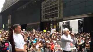 The Azan being called in New York to a huge crowd
