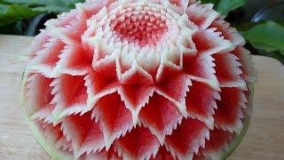 แกะสลัก แตงโม ลายผีเสื้อ 3,Watermelon carving 3,flower watermelon