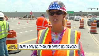 New I-75/University Parkway diverging diamond traffic pattern interchange now open