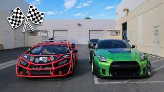 Twin Turbo LAMBORGHINI RALLY CAR VS 1000HP WIDE BODY GTR! **THE ULTIMATE RACE**