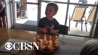 Firefighters throw birthday party for 3-year-old after guests cancel on him