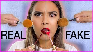 Beauty Busters: Poop or Woop? FULL FACE OF FAKE vs. REAL MAKEUP Natalies Outlet