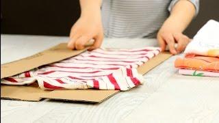 Faltbrett zum schnellen Wäsche-Zusammenlegen aus Pappe herstellen.