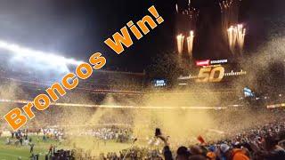 Broncos Win Super Bowl 50 - Confetti, Celebration, Cheering!