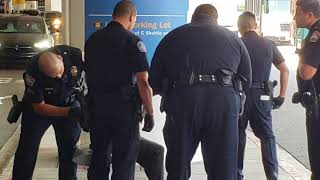 Lax airport police on  a 390 homeless man cops give him water and let him go at Los Angeles  Airport