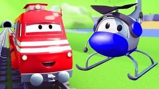 Troy der Zug und der Hubschrauber in Autopolis | Auto & Lastwagen Cartoons für Kinder