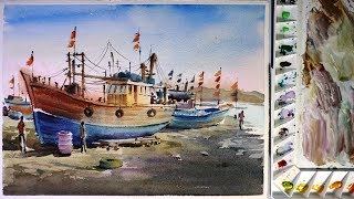 Watercolor painting : Fishing boat in port