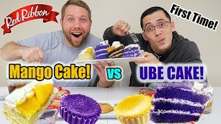Red Ribbon Mukbang | Mango Cake VS Ube Cake | Filipino Bake Shop | Filipino Dessert | Food Review