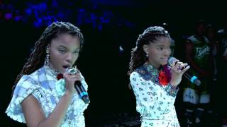 Chloe x Halle Sing National Anthem at BET Experience